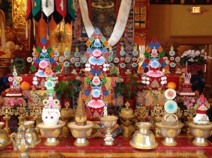 This new set of Mahakala tormas took a year and a half to complete and was used for the Gutor pujas.