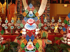 The Nyingzuk torma, the tentor, represents the deity and is filled with blessed substances and mantras.